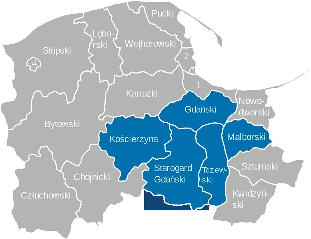 mapa powiaty pomorskie