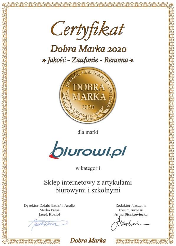 Biurowi.pl wyróżnione tytułem Dobra Marka - Jakość, Zaufanie, Renoma